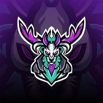 Łowca Jeleni Z Logo Ciemnej Maskotki Do Gier Premium Wektorów