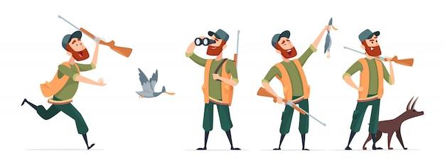 Łowcy kreskówek. myśliwy z psem, pistolety, lornetki, kaczka na białym tle