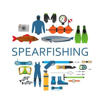 Łowiectwo podwodne nurkowanie podwodny zestaw elementów płaskich wektorów. sprzęt ochronny nurek morski i profesjonalne narzędzia myśliwskie włócznia łowiecka w okręgu na białym tle