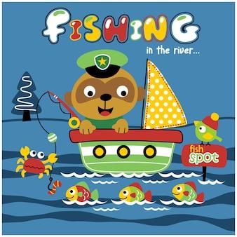 Łowienie ryb na rzece zabawna kreskówka zwierząt
