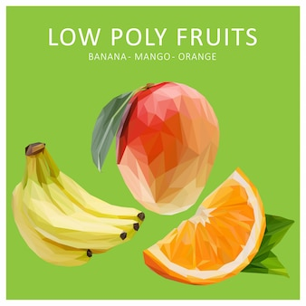 Lowpoly wektor owoców