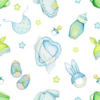 Łóżko, gwiazdki, smoczek, buty, ubrania, czapka, kubek, zabawki. akwarela bezszwowe wzór, na na białym tle.