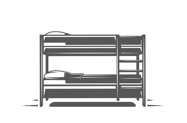 Łóżko na białym tle. symbole logo i emblematów mebli. ilustracja