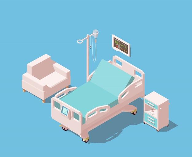 Łóżko szpitalne ze sprzętem medycznym.