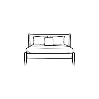 Łóżko z poduszkami ręcznie rysowane konspektu doodle ikona. meble do sypialni do spania - łóżko z poduszkami wektor szkic ilustracji do druku, sieci web, mobile i infografiki na białym tle.
