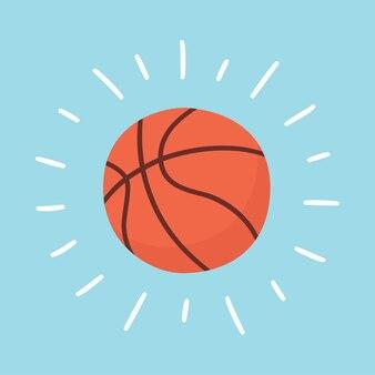 Lśniąca piłka do koszykówki. karta sportowa. ręcznie rysowane ilustracja w kreskówce