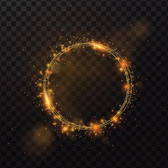 Lśniąca rama koło z ilustracją efektu świetlnego