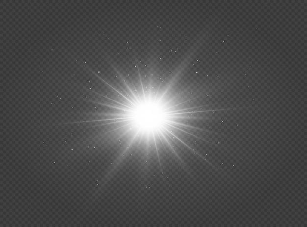 Lśniąca srebrna gwiazda efekt świetlny jasna gwiazda gwiazda bożonarodzeniowa białe świecące światło eksploduje