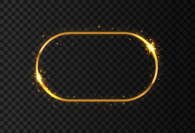 Lśniąca złota owalna ramka z gwiazdami i flarami