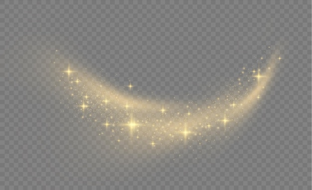 Lśniące cząsteczki magicznego pyłu na przezroczystym