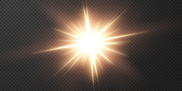 Lśniące jasne promienie światła z realistycznym blaskiem.