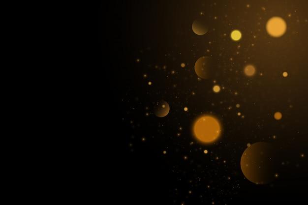 Lśniące, magiczne, złote, żółte cząsteczki kurzu. magiczny złoty