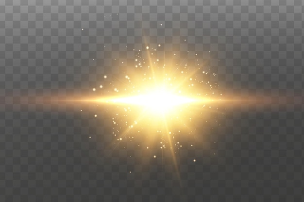 Lśniące złote gwiazdy. efekty, blask, linie, blask, eksplozja, złote światło.