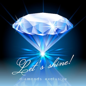 Lśniący diament z ilustracją tekstu