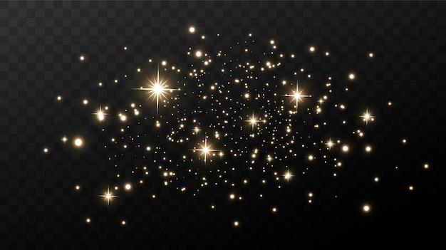 Lśniący magiczny pył. na teksturalnym czarno-białym tle. celebracja streszczenie tło z złote błyszczące cząsteczki pyłu. magiczny efekt. złote gwiazdy.
