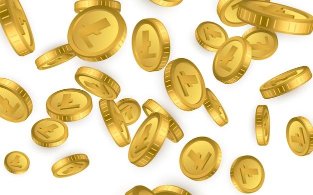 Ltc. wybuch złotych monet litecoin na białym tle. koncepcja kryptowaluty.