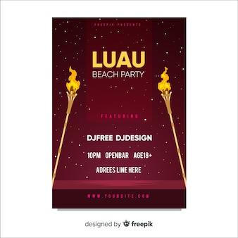 Luau party płomień pochodni plakat szablon