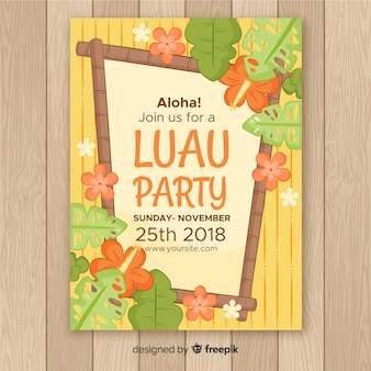 Luau party rama drewniana plakat szablon