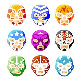 Lucha libre, luchador meksykańskie maski zapaśnicze zestaw kolorowych ikon. charakter twarzy osoby, symbol kostiumu sportowego