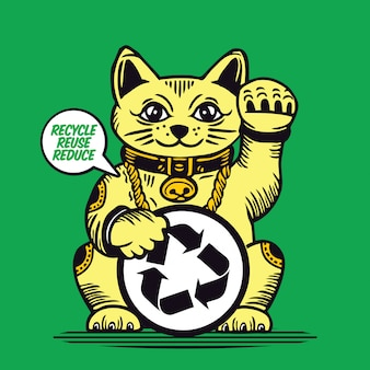 Lucky cat recycle reuse reduce maneki neko