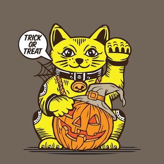 Lucky fortune cat pumpkin halloween trick or treat