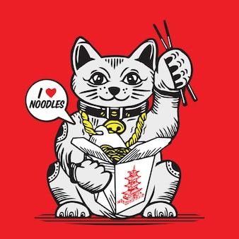 Lucky fortune cat z azjatyckim pudełkiem na makaron