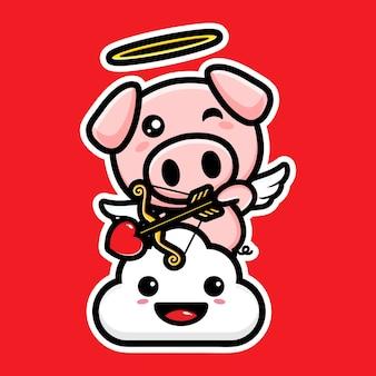 Łucznictwo słodkie amorek świnie z miłością