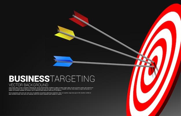 Łucznictwo w wielu kolorach uderzyło w środek tarczy. koncepcja biznesowa celu marketingowego i klienta. misja i cel wizji firmy.