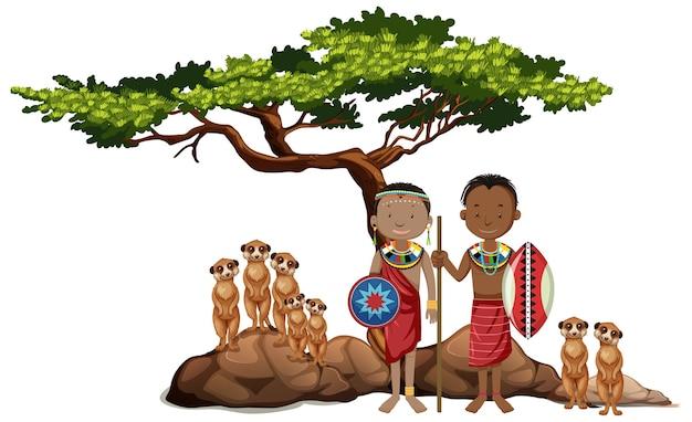 Ludność etniczna plemion afrykańskich i dzikie zwierzęta