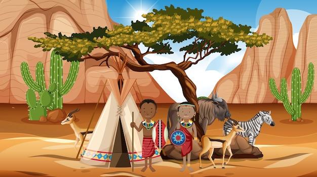 Ludność etniczna plemion afrykańskich w tradycyjnym stroju w przyrodzie