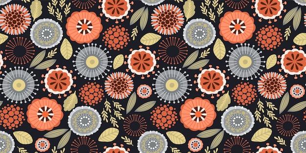 Ludowy kwiatowy wzór. nowoczesny projekt abstrakcyjny