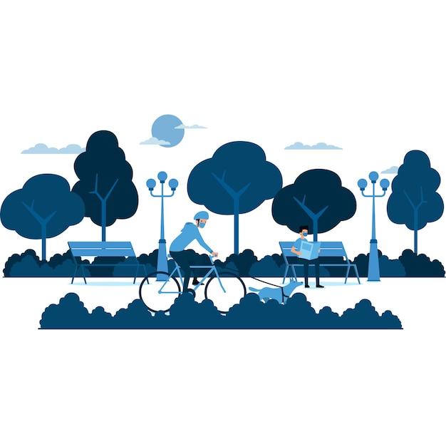 Ludy mają swoją aktywność na ilustracji parku publicznego