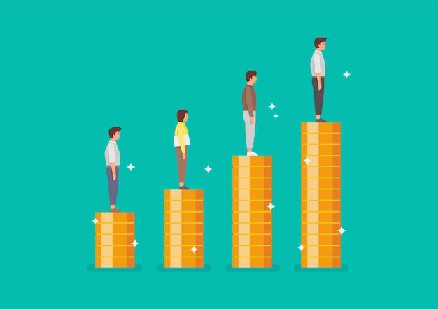 Ludy stojące na stosach monet jako wykres w górę. ilustracja