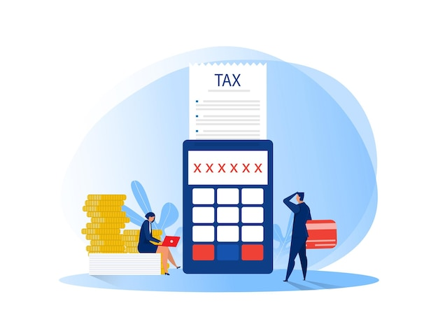 Ludzi biznesu obliczania dokumentu dla płaskich ilustracji podatków