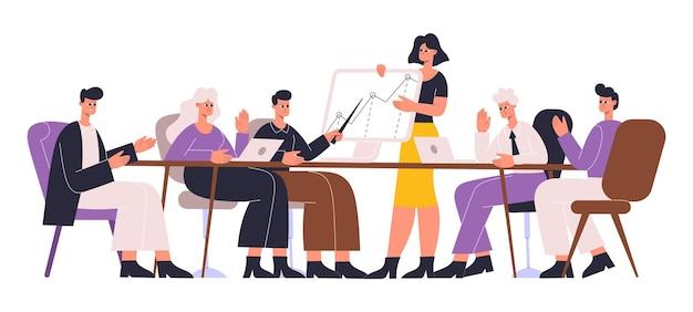 Ludzi biznesu przy stole negocjacyjnym, negocjacji, dyskusji i burzy mózgów. koledzy dyskusji, konferencji, ilustracji wektorowych spotkanie biznesowe. stół negocjacyjny