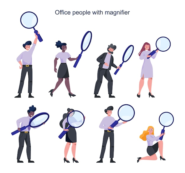Ludzi biznesu w formalnym garniturze trzymając szkło powiększające. rekrutacyjny,