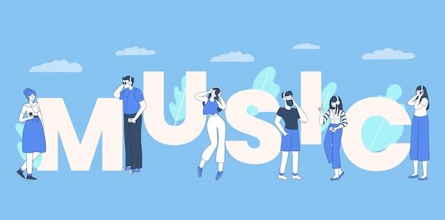 Ludzi, mężczyzn i kobiet słuchaczy muzyki płaski ilustracja. ludzie ze słuchawkami poruszają się do rytmu, młodzi chłopcy i dziewczęta słuchają muzyki o płaskich konturach. banner słowo koncepcja muzyki
