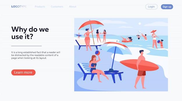 Ludzi odpoczywających na plaży latem