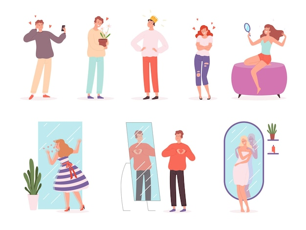 Ludzi próżności. narcystyczne postacie uśmiechnięte emocje osoby wektor płci męskiej i żeńskiej