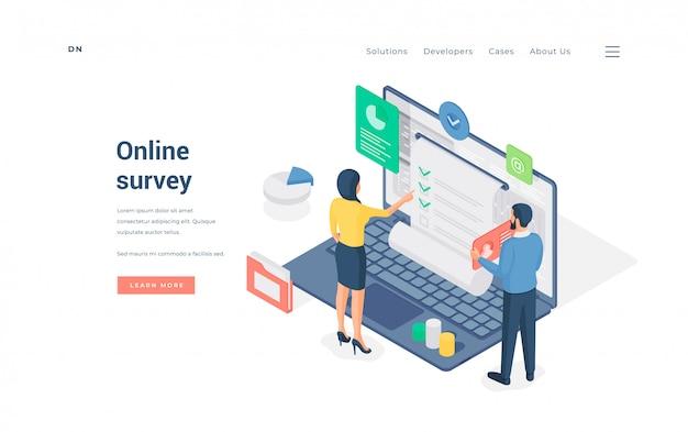 Ludzie ankietujący dane w internecie. ilustracja