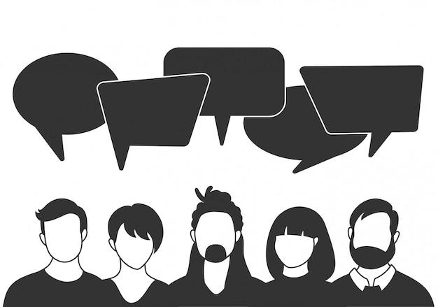 Ludzie awatarów z dymkami. komunikacja mężczyzn i kobiet, rozmowa ilustracyjna. współpracownicy, zespół, myślenie, pytanie, pomysł, koncepcja burzy mózgów.