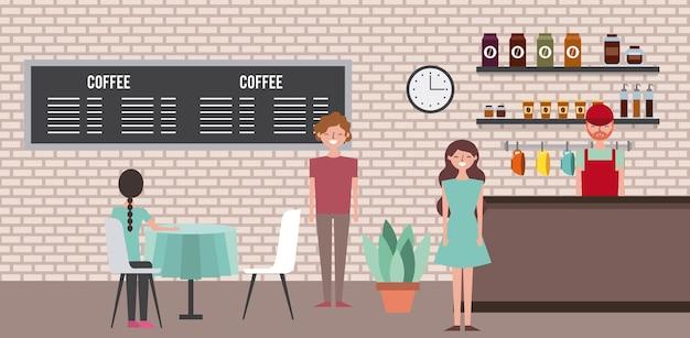 Ludzie baristów kawiarni i klientów
