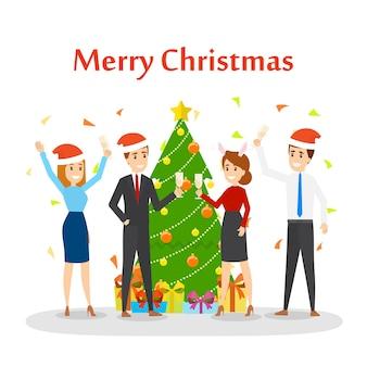 Ludzie bawią się na biurowym zestawie świątecznym. impreza w szczęśliwym towarzystwie kolegów. obchody nowego roku dotyczące pracy z szampanem. ilustracja