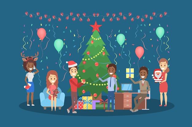 Ludzie bawią się na biurowym zestawie świątecznym. impreza w szczęśliwym towarzystwie kolegów. obchody nowego roku w pracy. ilustracja