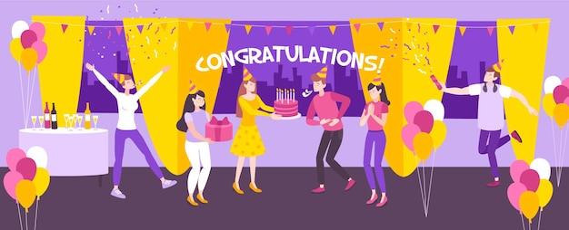 Ludzie bawią się na przyjęciu urodzinowym w restauracji płaskiej poziomej ilustracji
