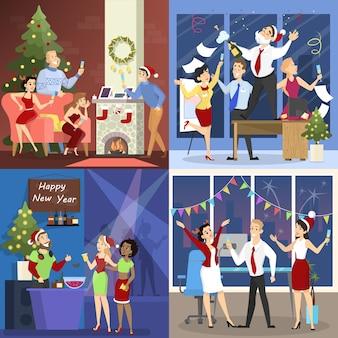 Ludzie bawią się na zestawie świątecznym. kolekcja imprez biurowych i klubowych w szczęśliwym towarzystwie. obchody nowego roku. ilustracja wektorowa w stylu cartoon