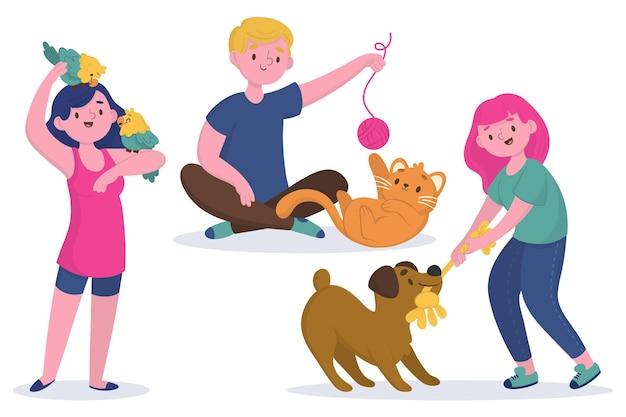 Ludzie bawią się swoją kolekcją zwierząt domowych