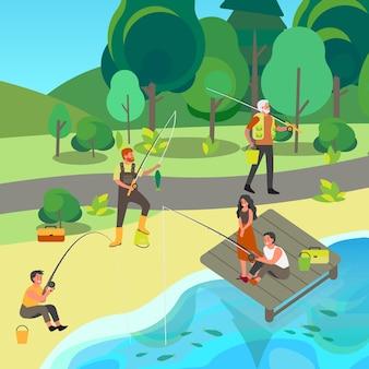 Ludzie bawią się wędką i ned w parku. letnia aktywność na świeżym powietrzu, turystyka przyrodnicza. ludzie ze sprzętem wędkarskim i rybami. zawody wędkarstwa sportowego.