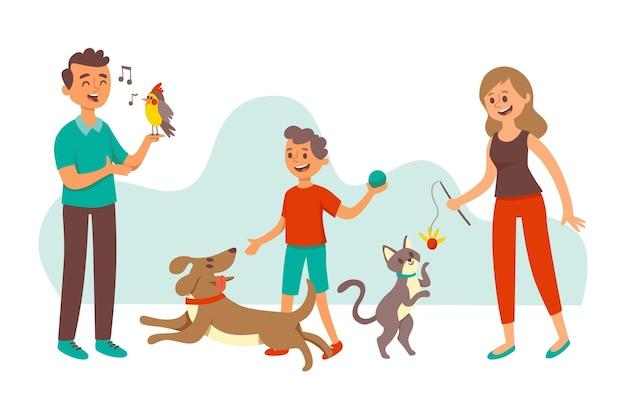 Ludzie bawią się ze swoimi zwierzętami