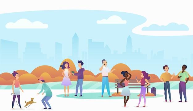 Ludzie bawią się ze zwierzętami, rozmawiają i spacerują po pięknym miejskim parku publicznym z nowoczesną panoramą miasta w tle. ilustracja modny kolor gradientu